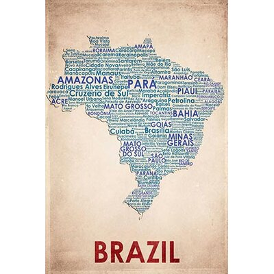 iCanvasArt American Flat Brazil Graphic Art on Canvas