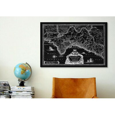 iCanvasArt Antique Map of the Valentia Kingdom (1634) by G and J Blaeu Graphic Art on Canvas in Black