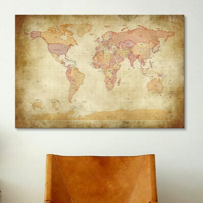 iCanvasArt 'Map of The World II' by Michael Tompsett Graphic Art on Canvas