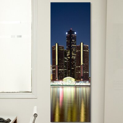 iCanvasArt Panoramic 'Skyscrapers Lit up at Dusk, Renaissance Center, Detroit River, Detroit, Michigan' Photographic Print on Canvas