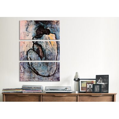 iCanvasArt Picasso Nude Pablo 3 Piece on Canvas Set in Blue