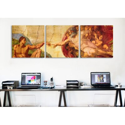 iCanvasArt Michelangelo Creation of Adam Di Lodovico Buonarroti Simoni 3 Piece on Canvas Set