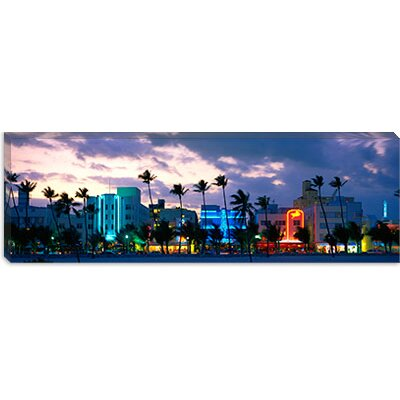 iCanvasArt Buildings Lit Up At Dusk, Ocean Drive, Miami Beach, Florida, Canvas Wall Art
