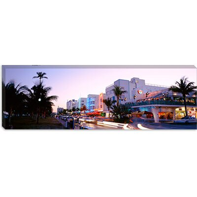 iCanvasArt Buildings Lit Up At Dusk, Ocean Drive, Miami, Florida, Canvas Wall Art