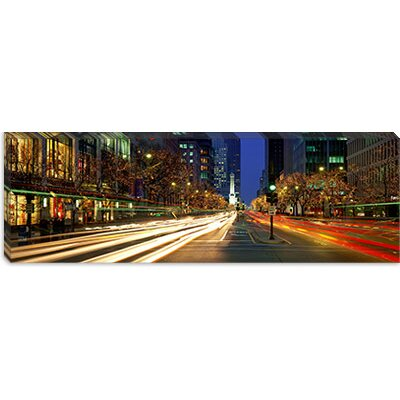 iCanvasArt Blurred Motion, Cars, Michigan Avenue, Christmas Lights, Chicago, Illinois Canvas ...