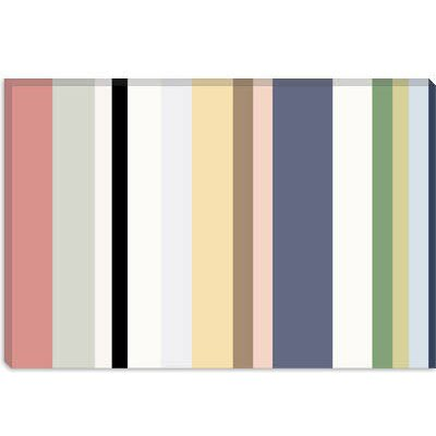 iCanvasArt Baby Pastel Striped Art Canvas Wall Art