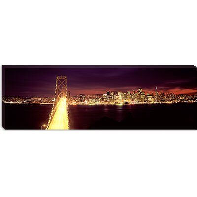 iCanvasArt Bridge Lit Up at Night, Bay Bridge, San Francisco Bay, California Canvas Wall Art ...
