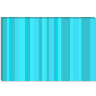 iCanvasArt Aqua Torquise Cyan Striped Art Canvas Wall Art