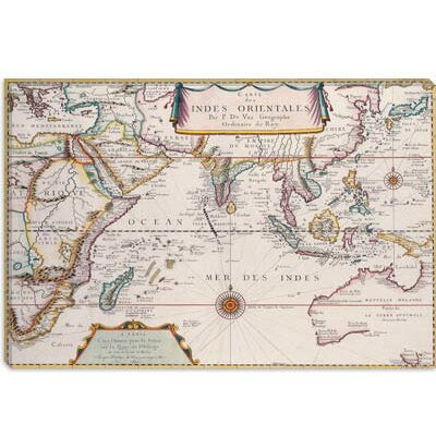 iCanvasArt Antique Map of Indian Ocean Canvas Wall Art