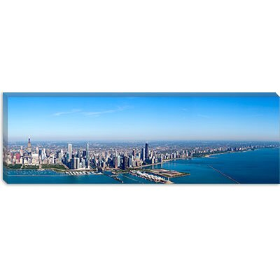 iCanvasArt Aerial view of Chicago from Lake Michigan, Illinois Canvas Wall Art