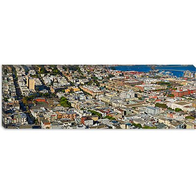iCanvasArt Aerial view of Columbus Avenue and Fisherman's Wharf, San Francisco Canvas Wall Art