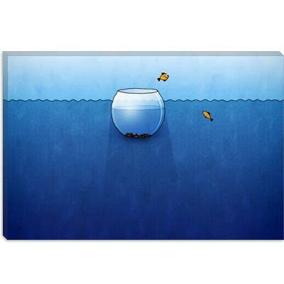 iCanvasArt Fishbowl in the Ocean Children Canvas Wall Art