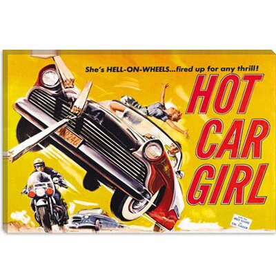 iCanvasArt Hot Car Girl Vintage Movie Poster