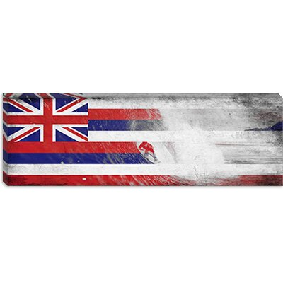 iCanvasArt Hawaii Flag, Grunge Beach Palm Trees, Surfing Ocean Panoramic Canvas Wall Art