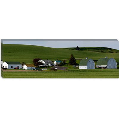 iCanvasArt Farm with Double Barns in Wheat Fields, Washington State Canvas Wall Art