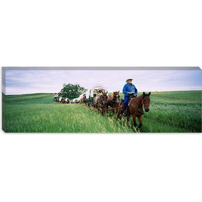 iCanvasArt Historical Reenactment of Covered Wagons in a Field, North Dakota Canvas Wall Art