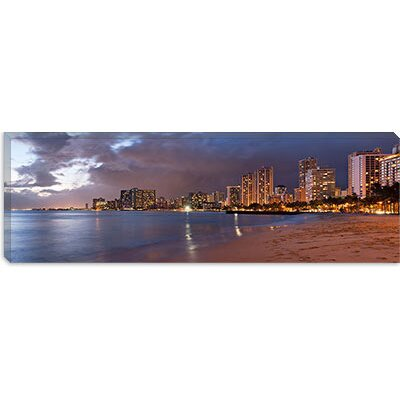 iCanvasArt Honolulu Panoramic Skyline Cityscape (Sunset) Canvas Wall Art