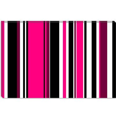 iCanvasArt Deep Pink on Black Striped Art Canvas Wall Art