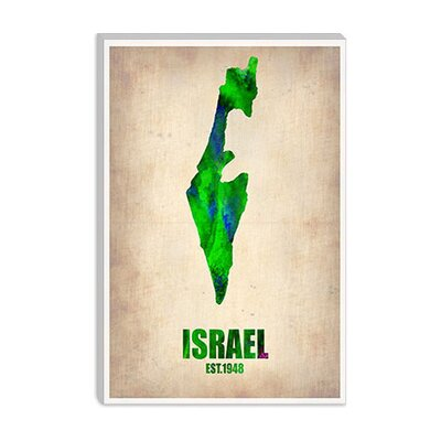 iCanvasArt Israel Watercolor Map Canvas Wall Art from Naxart