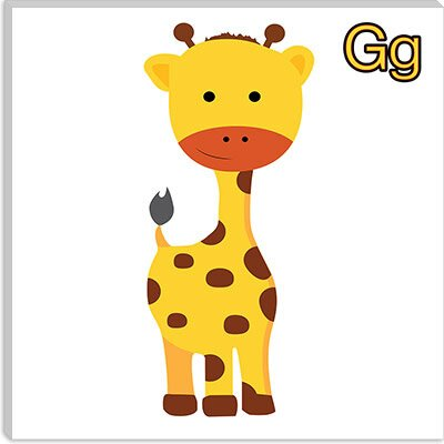 iCanvasArt G is for Giraffe Canvas Wall Art