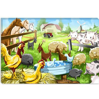 iCanvasArt Farm Animals Cartoon Children Canvas Wall Art
