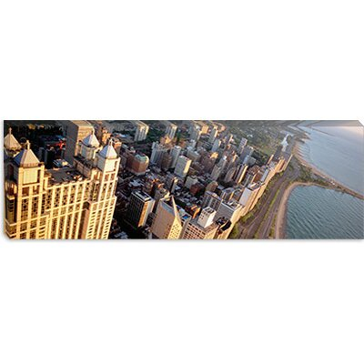 iCanvasArt Highway along a Lake, Lake Shore Drive, Chicago, Illinois Canvas Wall Art