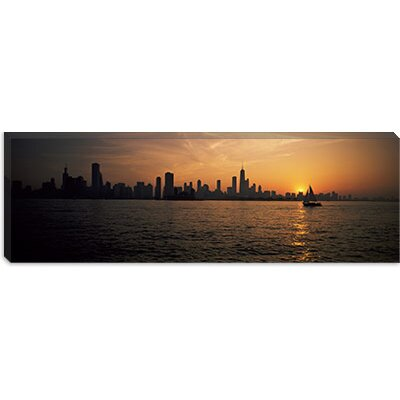 iCanvasArt Silhouette of Buildings at the Waterfront, Navy Pier, Chicago, Illinois Canvas Wall Art