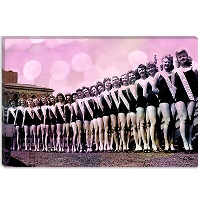 iCanvasArt Miss America Competition 1943 Lineup Pink Bubbles Canvas Wall Art