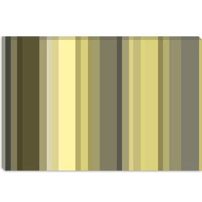 iCanvasArt Olive Oil Green Striped Canvas Wall Art