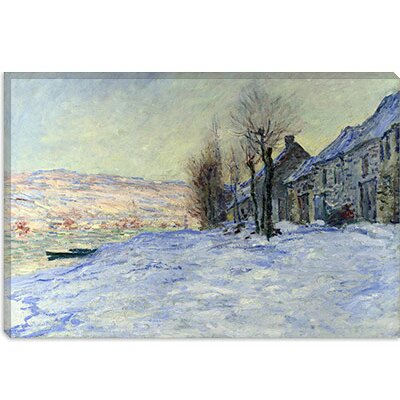 "iCanvasArt ""Lavacourt Sunshine and Snow"" Canvas Wall Art by Claude Monet"