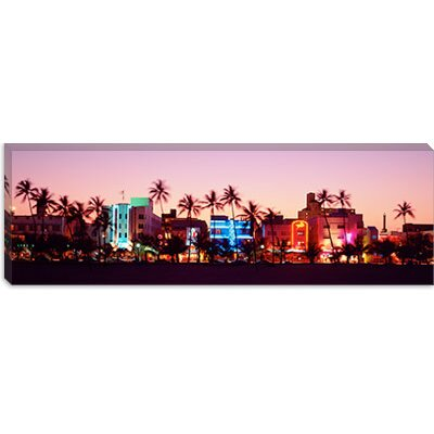 iCanvasArt Night, Ocean Drive, Miami Beach, Florida Canvas Wall Art