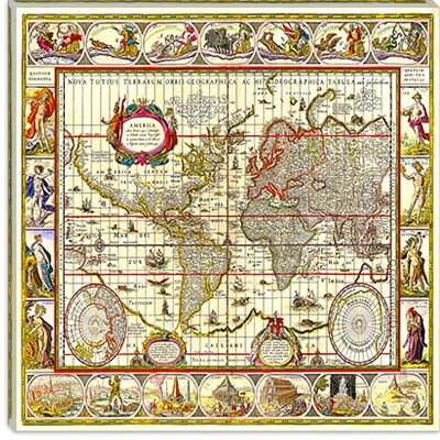iCanvasArt Map of the World Cancas Wall Art