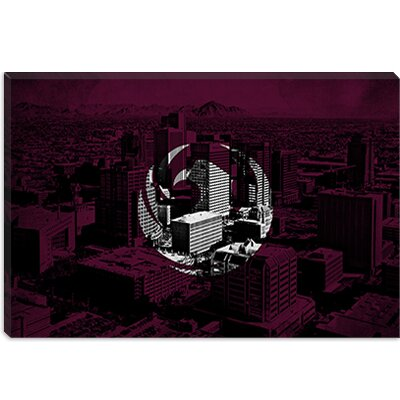 iCanvasArt Phoenix, Arizona Flag - Grunge City Skyline Canvas Wall Art