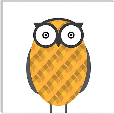 iCanvasArt Owl Orange Canvas Wall Art