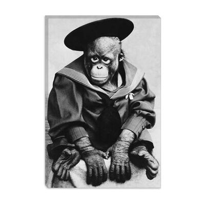 iCanvasArt Monkey in Graduation Outfit Vintage Photograph