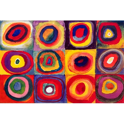 iCanvasArt 'Squares with Concentric Circles' by Wassily Kandinsky Painting Print on Canvas