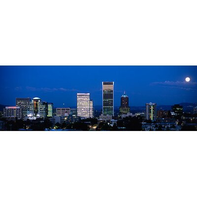 iCanvasArt Oregon, Portland, Moon, Night Canvas Wall Art