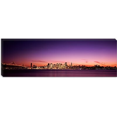 iCanvasArt Suspension Bridge with City Skyline at Dusk, Bay Bridge, San Francisco Bay, San ...