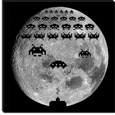 iCanvasArt Space Invaders - Moon Battle Canvas Wall Art