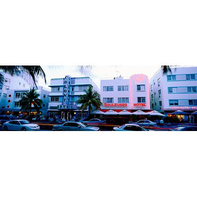 iCanvasArt Traffic on Road in front of Hotels, Ocean Drive, Miami, Florida Canvas Wall Art ...