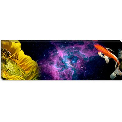 iCanvasArt Sunflower and Koi Carp in space Canvas Wall Art