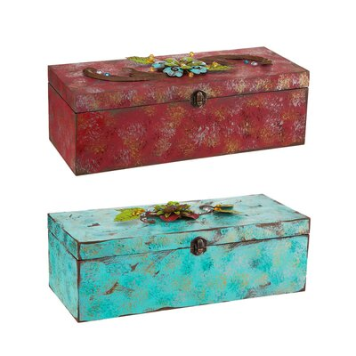 Cape Craftsmen Westward Bound Wine Box with Metal Flowers