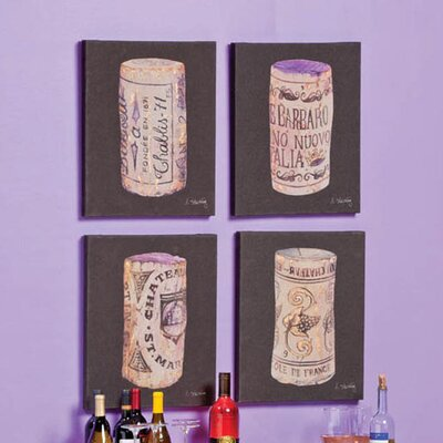 Cape Craftsmen Wine Corks Linen Canvas Art (Set of 4)