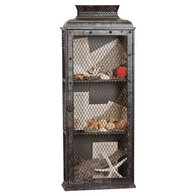 Cape Craftsmen Vintage Large Metal Wall Shelf with Wire Mesh Door