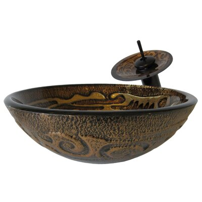 Mosaico Hand Painted Glass Vessel Sink - NSFC-032001ORB