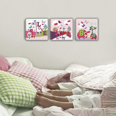 Lemon Ribbon 3 Piece Animal Sanctuary Blocks Canvas Art Set