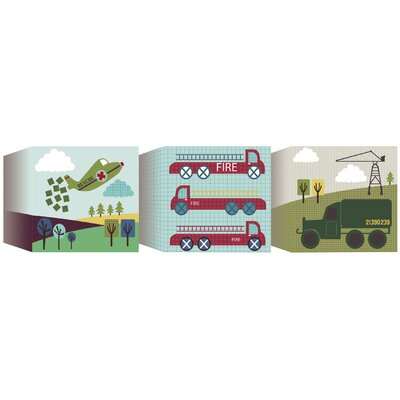 Lemon Ribbon Transportation Canvas Blocks (Set of 3)