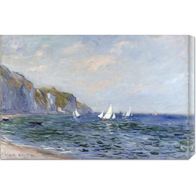 'Cliffs and Sailboats at Pourville' by Claude Monet Stretched Canvas Art
