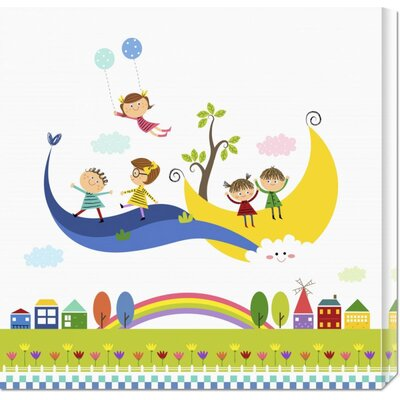 'Happy Children Enjoying Their Time V' by Jiyeong Na Stretched Canvas Art