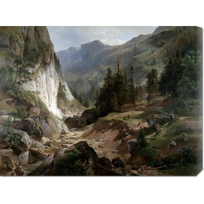 'Mountain Landscape' by Herman Fueschel Stretched Canvas Art